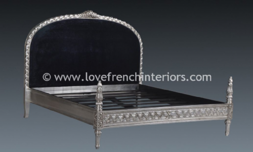 French Upholstered Silver Leaf Bed